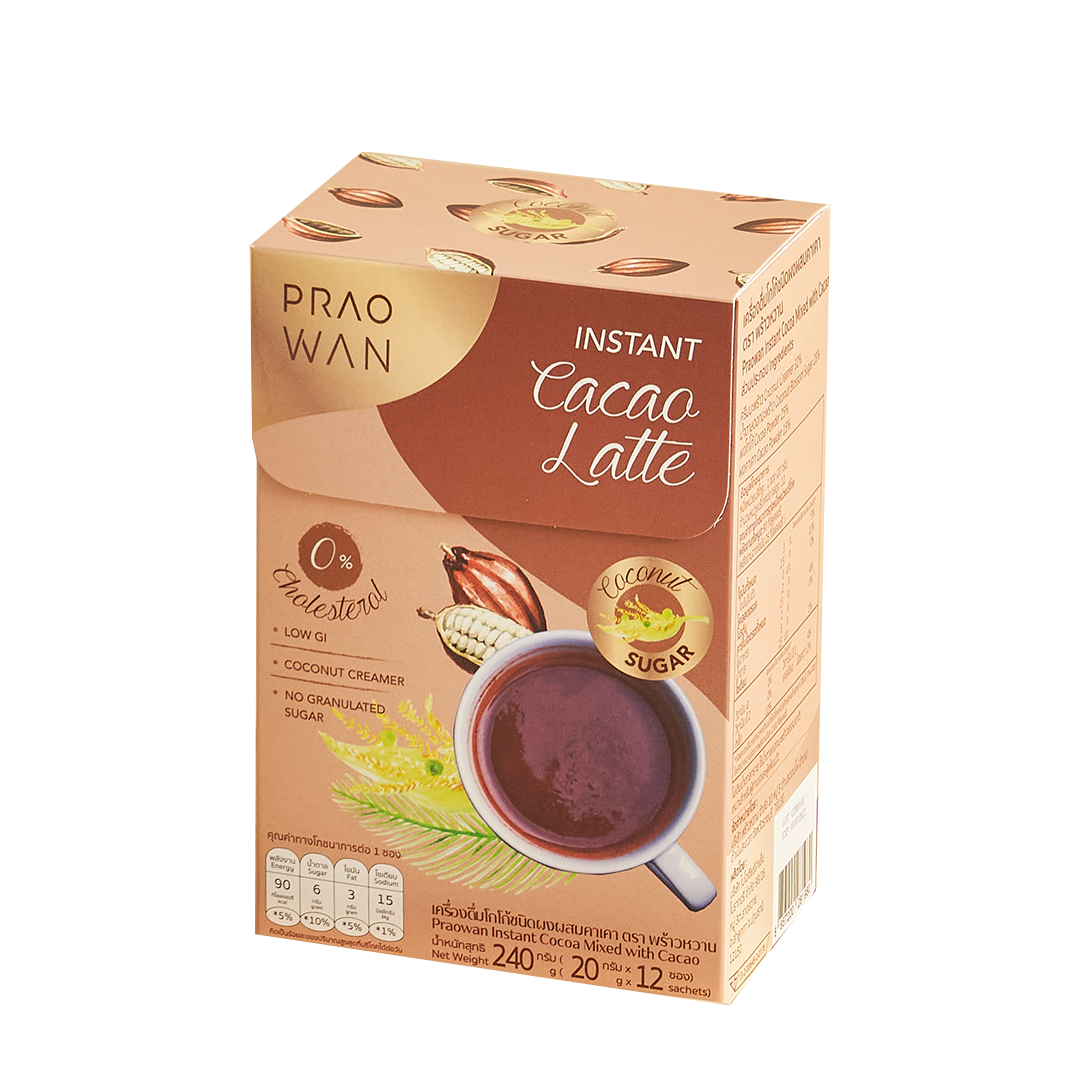 Praowan Instant Cacao Latte เครื่องดื่มคาเคาผสมโกโก้ชนิดผง [1 กล่อง 12 ซอง]